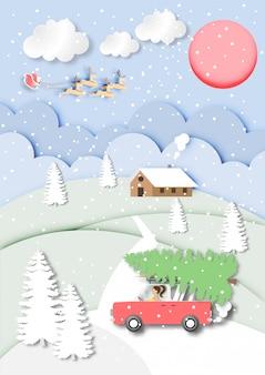 Arte de papel de Papai Noel com renas no céu azul e fundo de vista de paisagem