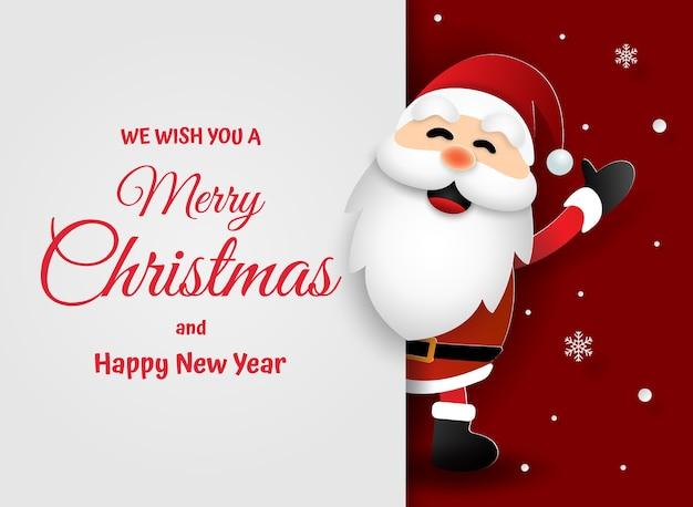 Arte de papel de papai noel feliz natal e feliz ano novo