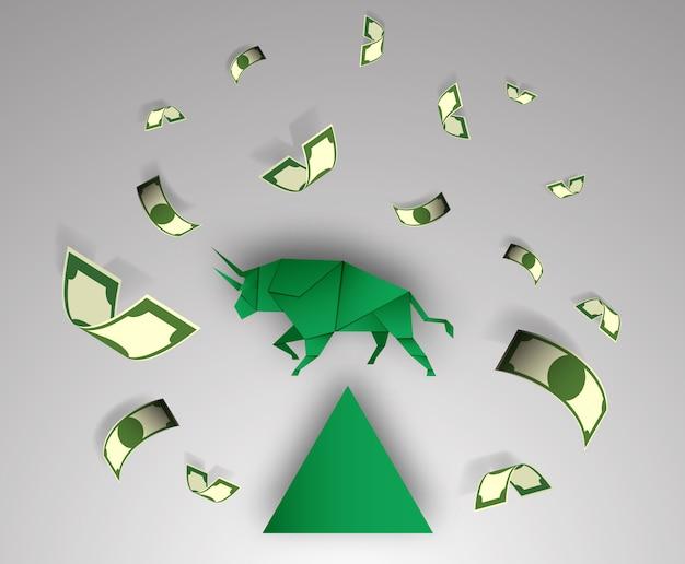 Arte de papel de touro com dinheiro para vetor de mercado de ações e ilustração