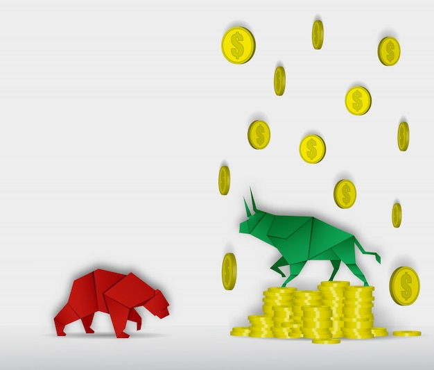 Arte de papel de touro e urso com arte de papel moeda para vetor de mercado de ações e ilustração