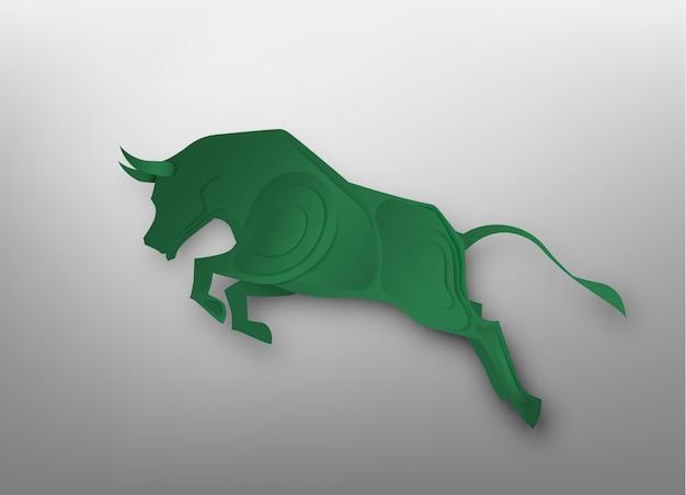 Arte de papel de touro para vetor de mercado de ações e ilustração