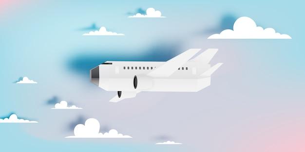 Arte de papel de vista aérea de avião com ilustração vetorial de fundo bonito