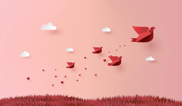 Arte de papel do amor e dia dos namorados,