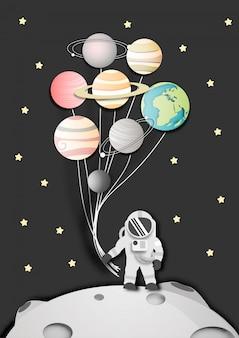 Arte de papel do astronauta na lua no espaço