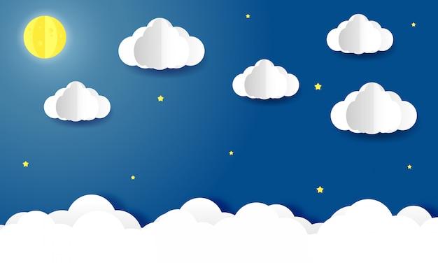 Arte de papel do céu com nuvens e lua à noite