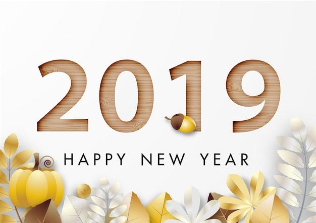 Arte de papel do feliz ano novo 2019 festival