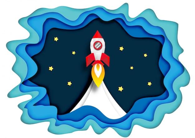 Arte de papel do lançamento de naves espaciais ao espaço