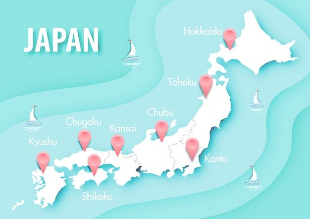 Arte de papel do mapa do japão no vetor de fundo azul oceano
