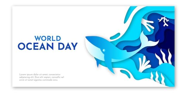 Arte de papel do modelo de dia mundial do oceano com ilustração azul do mar, coral e baleia