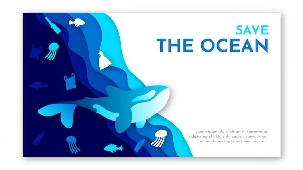 Arte de papel do modelo de dia mundial do oceano com mar azul, lixo de plástico e ilustração de baleia