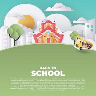 Arte de papel do ônibus escolar que corre na estrada secundária, de volta ao conceito da escola, arte do vetor e ilustração.