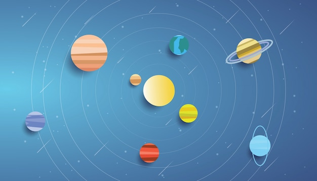 Arte de papel do sistema solar