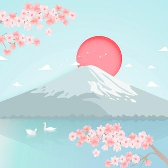 Arte de papel do vetor de fundo de montanha de fuji
