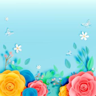 Arte de papel floral lindo com illustation de vetor de borboleta