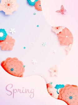 Arte de papel floral lindo com illustation de vetor de esquema de cores pastel