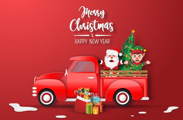 Arte de papel origami de caminhão de natal vermelho com papai noel e elfo