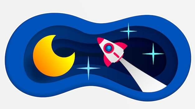 Arte de papel rocket paper com tom branco