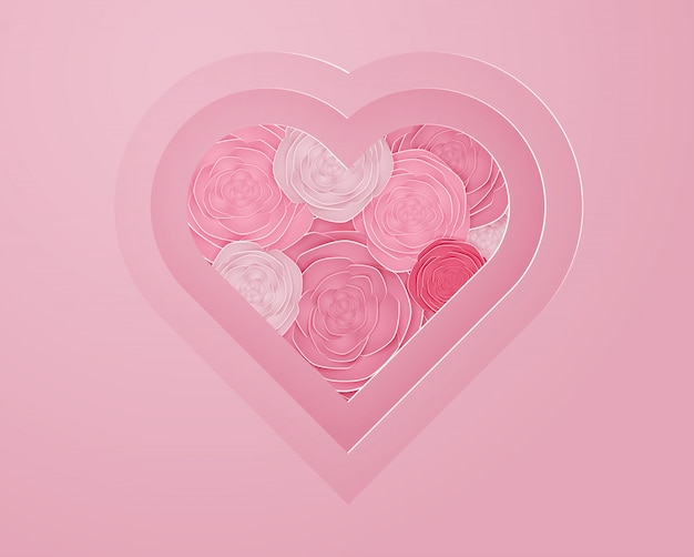 Arte de papel rosa em ilustração em vetor forma coração
