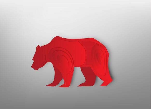 Arte de papel urso para vetor de mercado de ações e ilustração