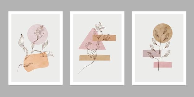 Arte de parede botânica no conjunto. criativo minimalista pintado à mão. elementos geométricos abstratos. com formas diferentes para impressão de arte, capa, papel de parede