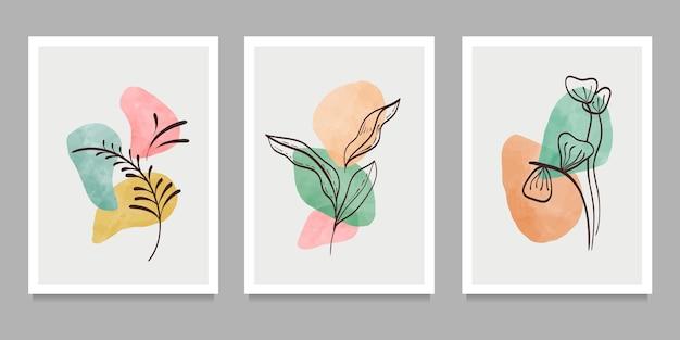 Arte de parede botânica no conjunto. elementos geométricos abstratos, formas e arte vegetal para impressão, capa, papel de parede