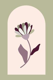 Arte de parede estética minimalista de boho fundo abstrato de planta de verão para cartaz de interior de criança de design