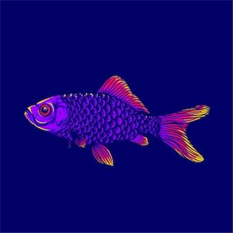 Arte de peixes coloridos isolados