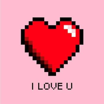 Arte de pixel de amor de coração