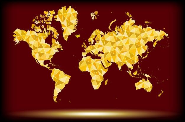 Arte de polígono dourado formas de mapa de terra com sombra