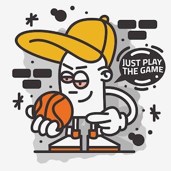 Arte de rua com tema de basquete grafite estético dos desenhos animados mascote personagem camiseta design de impressão