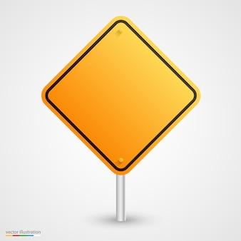 Arte de sinal de estrada vazia amarela. ilustração vetorial