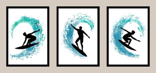 Arte de surf na parede com elementos em aquarela para estampas de t-shirt, capa para casa e estampas de têxteis