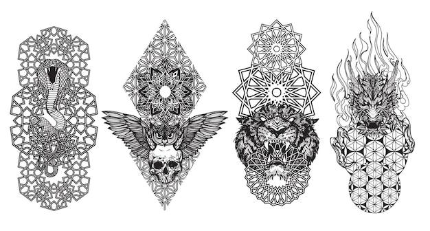 Arte de tatuagem animal cobra pássaro tigre e mão de dragão desenhando e esboçando preto e branco