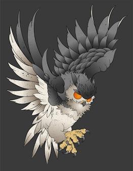 Arte de tatuagem de coruja