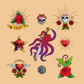 Arte de tatuagem tradicional com flores rosas,