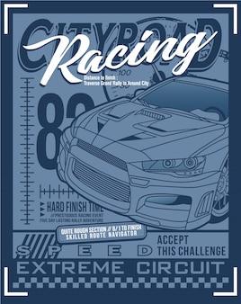 Arte de tipografia de corrida, vetor gráfico ilustração