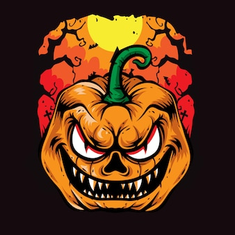Arte de vetor de halloween de abóboras assustadoras