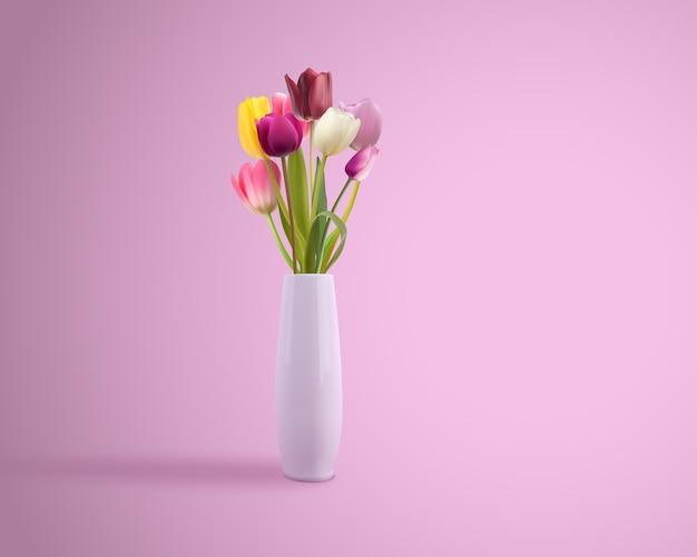 Arte de vetor de vaso de flor realista