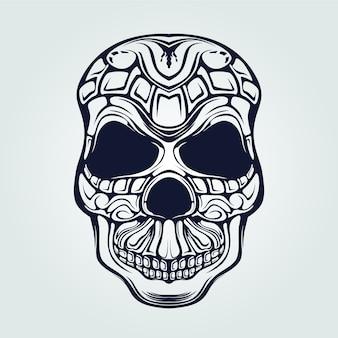 Arte decorativa de linha de padrão de crânio