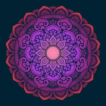 Arte decorativa de mandala com gradiente de cores em dois tons