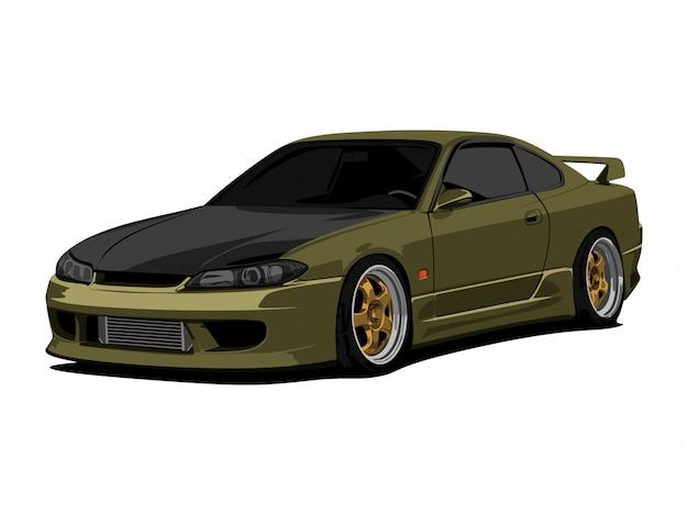 Arte detalhada da ilustração do vetor dos desenhos animados do carro