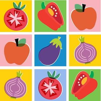 Arte digital de recursos gráficos de ilustração vetorial colorida de vegetais e frutas