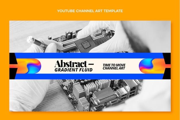 Arte do canal do youtube com tecnologia de fluido abstrato gradiente