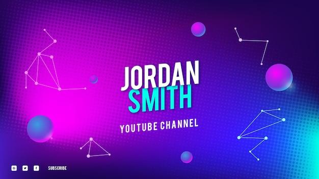 Arte do canal do youtube com tecnologia de meio-tom gradiente