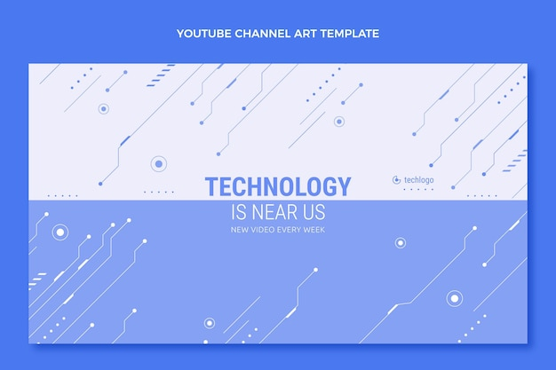 Arte do canal do youtube com tecnologia plana e mínima