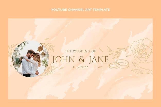 Arte do canal do youtube de casamento desenhada à mão