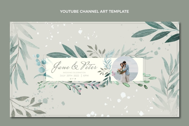 Arte do canal do youtube de casamento desenhado à mão em aquarela