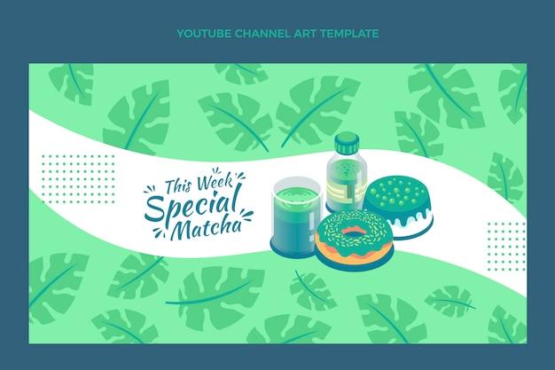 Arte do canal do youtube de comida matcha plana