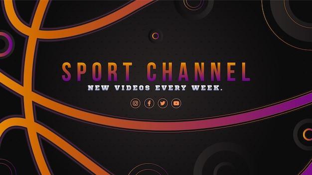 Arte do canal do youtube de esporte gradiente Vetor grátis