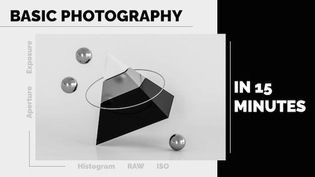 Arte do canal do youtube de fotografia profissional moderna e minimalista